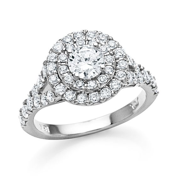 Double Halo Split Shank Engagement Ring. SES Creations Style S#1445