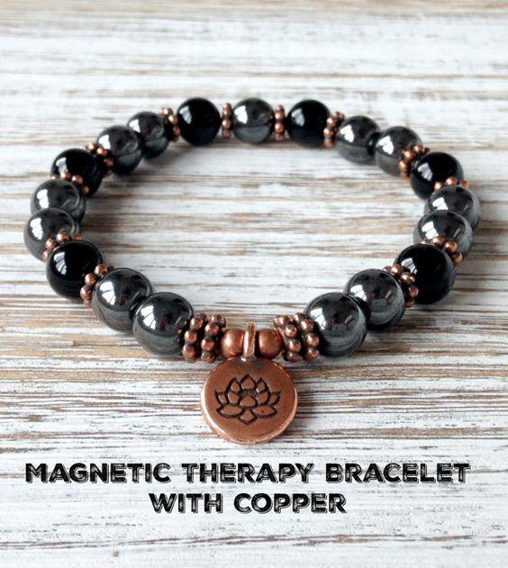Magnetic Therapy Bracelet with Copper, Magnetic Hematite Bracelet, Healing Fibromyalgia Arthritis Diabetes Migraines Chronic Pain Relief