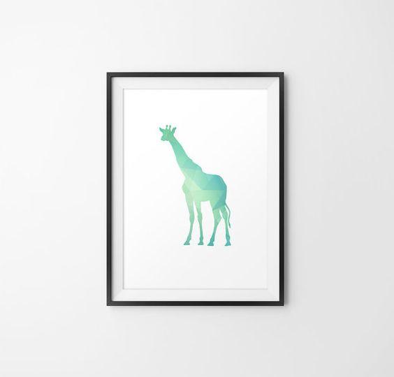 Teal Giraffe Art Giraffe Minimal Art Giraffe Wall by 24Palettes