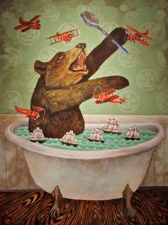 Bear in a Bathtub by Elizabeth Foster art print by elizabethfoster on Etsy https://www.etsy.com/listing/188926824/bear-in-a-bathtub-by-elizabeth-foster: