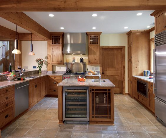 Knotty Alder Wood Cabinets: LOVE The Wine Fridge In The Island! This Might Be One Of