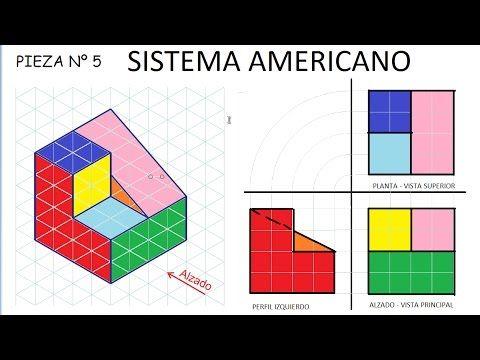 5 Sistema Americano E5 Alzado Planta Y Perfil De Una Pieza Ejercicios De Vistas De Dibujo Tecnico Tecnicas De Dibujo Ejercicios De Dibujo Dibujos De Geometria