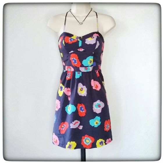 American Eagle Sundress Navy floral print sundress.  100% polyester. Great condition. American Eagle Outfitters Dresses Mini