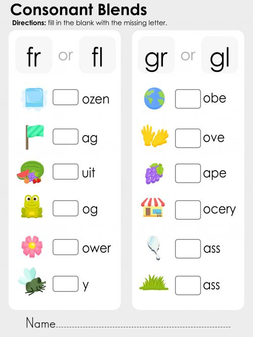 Help your child improve their reading and writing skills with this free, phonics printable that features the consonant blends fr, fl, gr, and gl. Students must identify what the picture is, and use the rest of the letters to figure out what consonant blend goes at the beginning of the word. What other words does your child know that start with these consonant blends? Read more at http://kidspressmagazine.com/phonics/worksheets/misc/consonant-blends-fr-fl-gr-gl.html#cM53BI6HYTxXL0To.99 #ph...