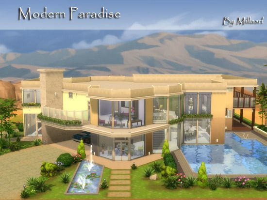 Modern Architecture Mansion Featuring Five Bedrooms Eight Bathrooms Living Room Dining Room In 2020 Sims 4 House Building Sims House Design Sims House