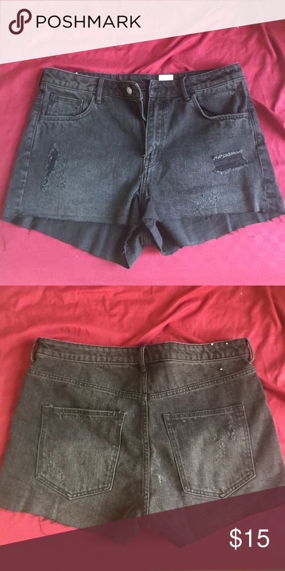Denim Shorts High Waist No tags. Never worn. Run small size 12 but really like a 9-10. H&M Shorts Jean Shorts