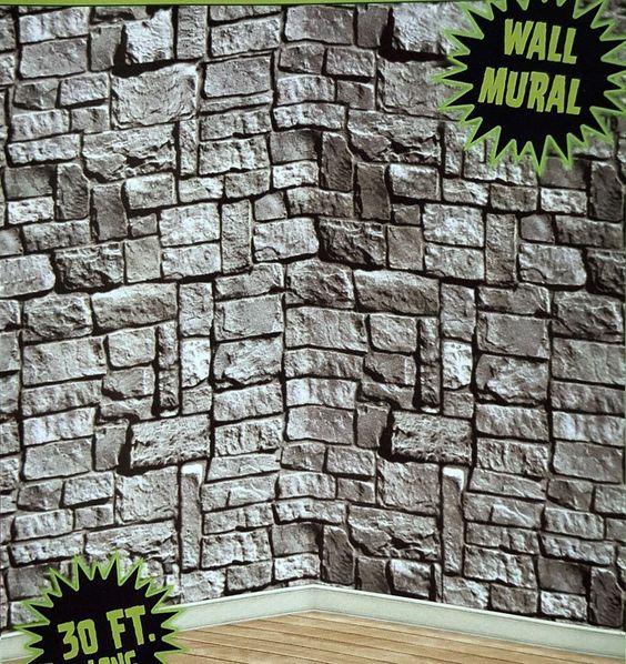 30ft Stone Dungeon Castle Walls Mural Halloween Scene Setter Photo Backdrop