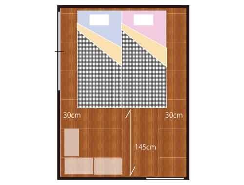 2人のベッド 6畳シングル2台のレイアウト 6畳 レイアウト 6畳 レイアウト