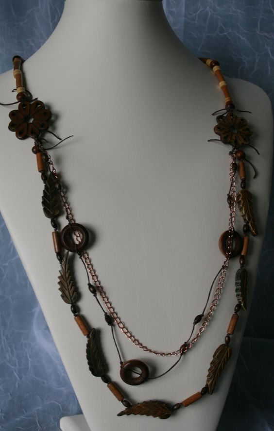 Wood and brass necklace.