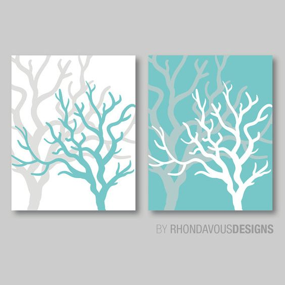 Ocean life nautical teal coral print duo home decor for Teal and white bathroom ideas