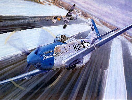 Un P-51 Mustang batiéndose con un Messerschmitt Me-109G el día de Año Nuevo de 1945, en el transcurso de la operación Bodenplatte. Más en www.elgrancapitan.org/foro/