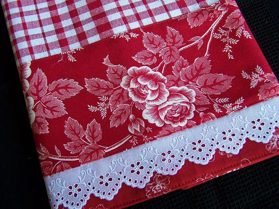 Tea towel for the red and white kitchen. Love the fancy lace trim.