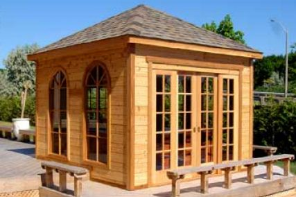 This little gazebo is actually quite nice. made entirely of wood, it has some patio style doors so you can open up the hot tub to the outdoors and it's decent sized (though likely not for chairs or anything).
