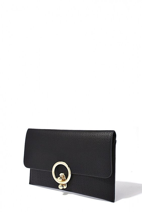 Black Pebble a Leather Beverly Hills Pocket Clutch