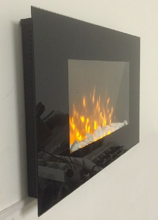 Truflame Wall Mounted Flat Glass Electric Fire With Pebble Effect