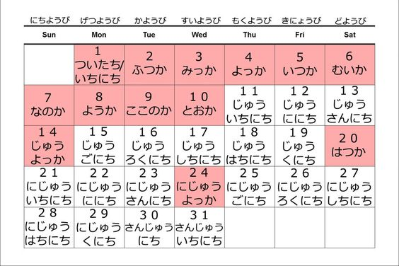 Japanese Calendar Year : A chart for colors in japanese kanji is on the left and