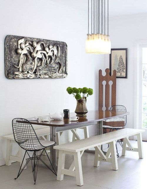 Mixing A Bench And Chairs At The Dining Table Diseno De