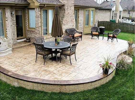 Stamped concrete patio deck ideas patio landscape outdoor ...
