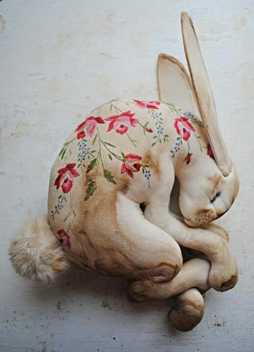 Sleeping hare made from vintage table cloth