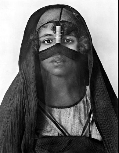 Egyptian woman veiled with bisha. ca 1923
