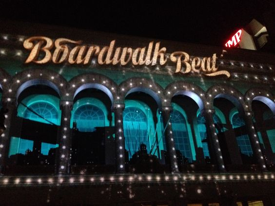 Nightly Light show on the boardwalk in Atlantic City, NJ. The show competes with the shows in Vegas. It is that good!