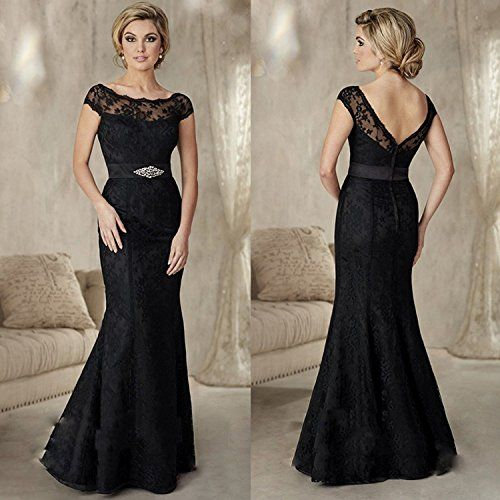 Banfvting Long Black Evening Gown Mermaid Lace Mother Bride Dress | Black  evening gown, Black long evening gown, Bride dress
