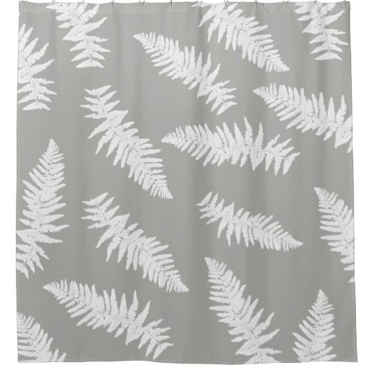 Fern Leaf Gray Botanical Pattern Shower Curtain Zazzle Com With Images Patterned Shower Curtain Botanical Pattern Curtains