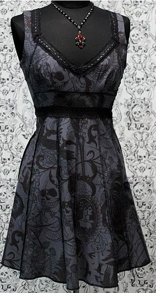Black Vintage Style Cocktail Dress - Gothic Tattoo Print Skulls, Spiderwebs, Crows and Cameos are depicted on this 100% Cotton Fabric -::- by Shrine Clothing find more women fashion ideas on www.misspool.com: