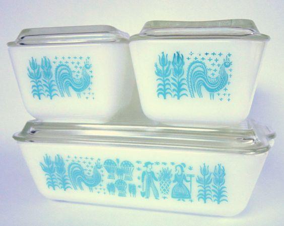 Vintage Turquoise Butterprint Pyrex Refrigerator Dishes, 8-Piece Aqua & White Casserole Set Mid-Century Bakeware 1950s. $115.00, via Etsy.