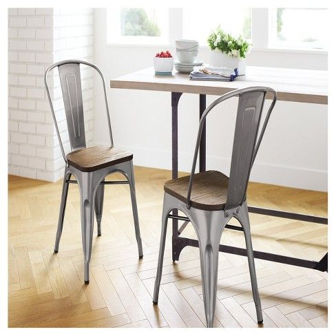 Carlisle High Back Metal Dining Chair With Wood Seat Natural