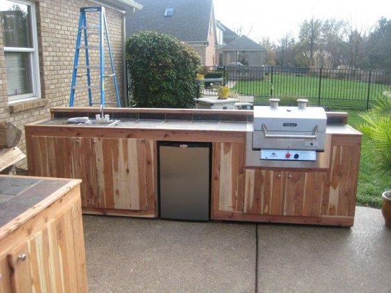 Cabinets outdoor and kitchens on pinterest for Wooden outdoor kitchen plans