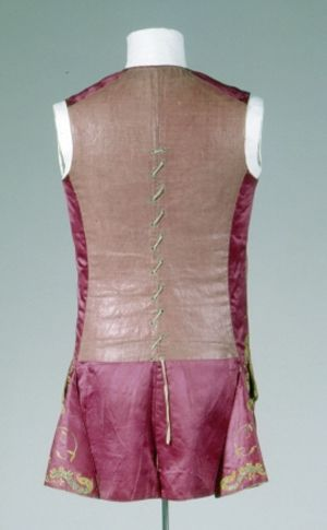 Sleeveless Waistcoat (Rear), 1750, Germany, Cotton, linen, silk.  Front: silk, red, brown, orange, satin weave; Back: linen, red; plain weave lining. Embroidery: metallic thread, gold, silk, yellow. GERMANISCHES NATIONALMUSEUM | Nürnberg