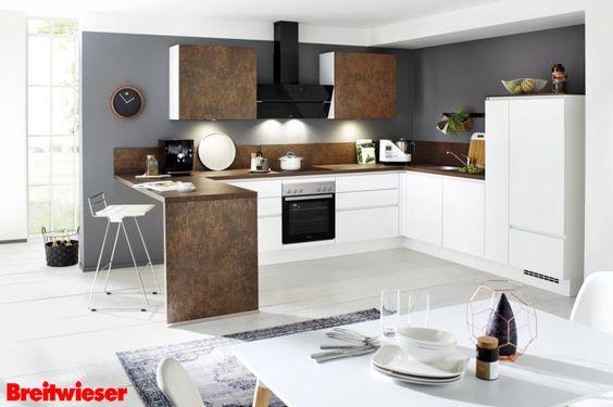 NOBILIA Einbauküche in alpinweiß Lack matt, mit einem Hingucker - haecker lack matt schwarz