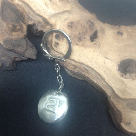 Hand made silver 21 key ring nugget