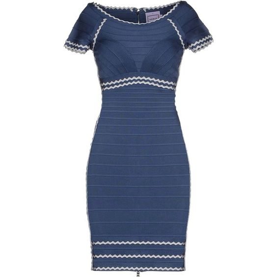 Hervé Léger By Max Azria Short Dress (€1.190) ❤ liked on Polyvore featuring dresses, slate blue, short sleeve mini dress, short sleeve dress, mini tube dress, short dresses and print dress