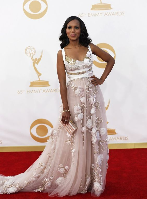 Kerry Washington's pearl white gown confirms her recent appointment as world's Best-Dressed Woman by People magazine.