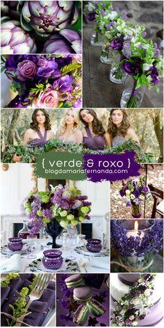 Decoração de Casamento: Paleta de Cores Verde e Roxo   Wedding Inspiration Boad Color Pallette Green and Purple   http://blogdamariafernanda.com/decoracao-de-casamento-paleta-de-cores-verde-e-roxo