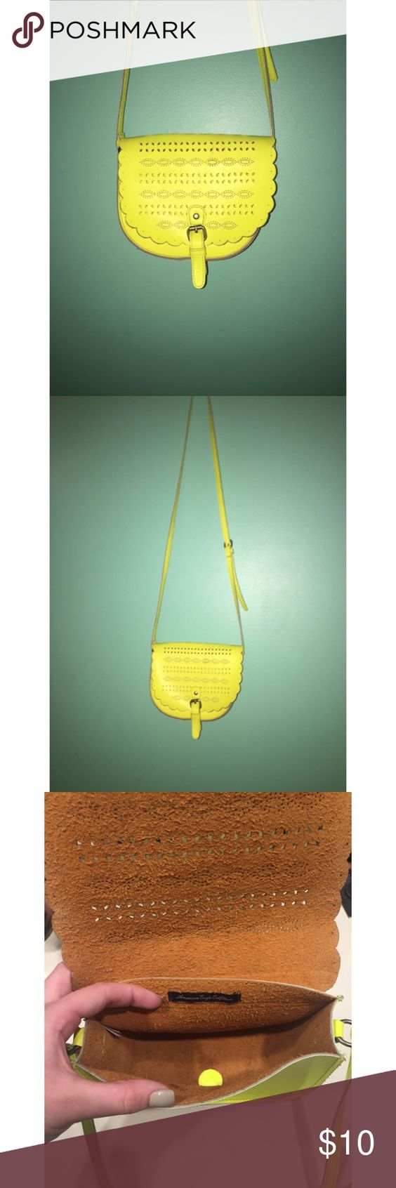 American Eagle Crossbody Neon yellow cross body in great condition! I've only used it a few times but when I did use it I was able to store my phone, wallet and keys in it. American Eagle Outfitters Bags Crossbody Bags
