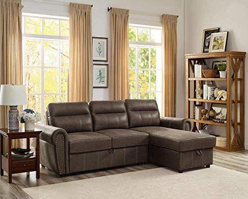 Beautiful Lilola Home Lilola Ashton Microfiber Reversible Sleeper Sectional Sofa Saddle Brown Furniture 6 In 2020 Sectional Sleeper Sofa Sectional Sofa Sofa Storage