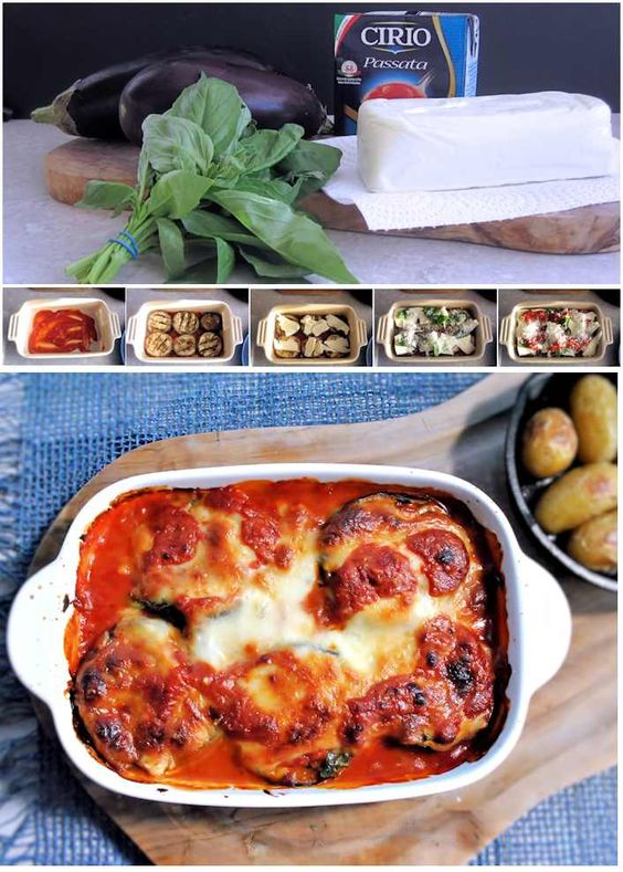 Aubergine parmigiana in homemade tomato sauce, with mozarella, Parmesan and basil - the classic.