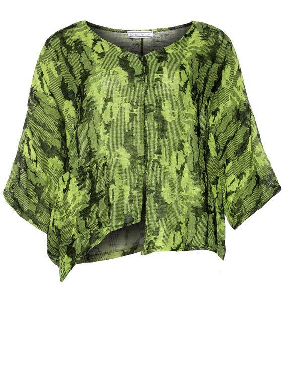 Leinenshirt mit Eingriffstaschen von Turbulence in Hell-Grün / Schwarz.Im navabi Online Shop