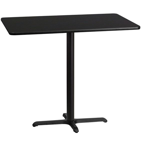 30'' x 48'' Rectangular Black Laminate Table Top with 22'' x 30'' Bar Height Table Base. Complete your restaurant, break room or cafeteria with this table top and base configuration. This set is designed for commercial use to withstand the daily rigors in the hospitality industry. This set will also make a great option for your home as a dining table or in the rec room. Whether you are just starting your business or upgrading your furniture this table base will complete the look…