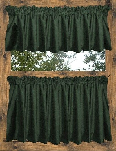 Green Curtains black green curtains : Hunter Green Tier Curtains | Colorful Curtains | Pinterest ...