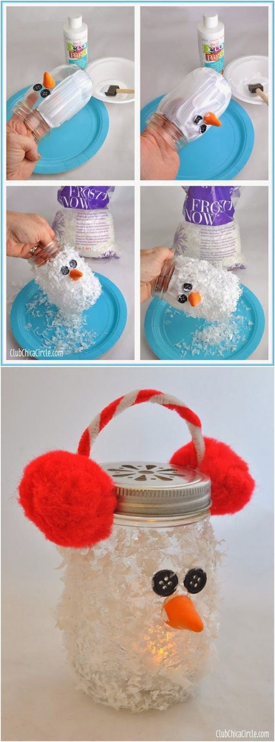 Snowman Mason Jar Luminary Super cute winter DIY craft idea for kids. Makes fun gifts for Christmas too.: