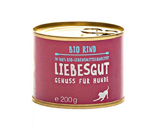 Aus der Kategorie Probiotika  gibt es, zum Preis von EUR 15,66  4er-SET Bio Hundefutter Rind 200g Liebesgut  <br>Hund - Haltbarkeit nach Öffnen - Nach dem Öffnen 2-3 Tage im Kühlschrank haltbar.- Hersteller - Liebesgut Tiernahrung GbR - Lagerung - Kühl und Trocken lagern. - Futterdaten - Zusammensetzung - 50 % Bio-Rindfleisch, 20 % Bio-Rinderherz, 5 % Bio-Rinderleber, 7% Bio-Vollkornnudeln, 5% Bio-Karotten, 5% Bio-Kürbis, 5,5% Bio-Äpfel, 1,5% Bio-Sonnenblumenöl, Bio-Petersilie…