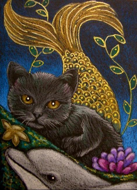 cat mermaid | Art: BLACK MERMAID CAT - MERCAT - DOLPHIN by Artist Cyra R. Cancel
