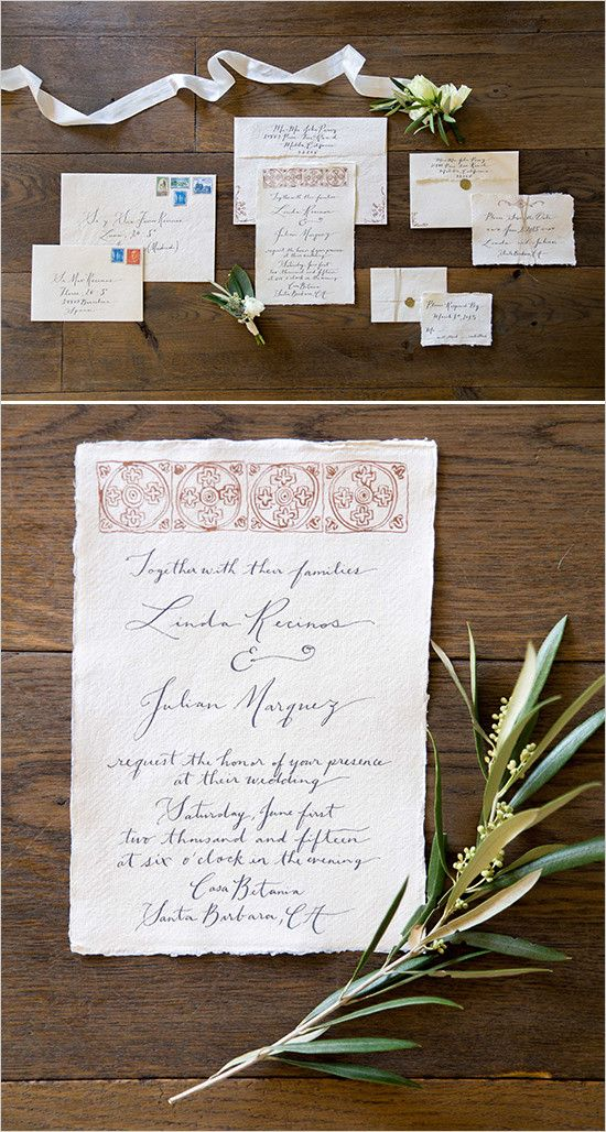 handmade invitations from The Vintage Inkwell @weddingchicks