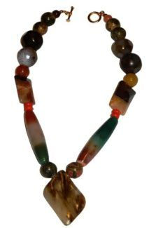 "Are you thinking about giving your look a boost? Go for it! It's a lovely way to lavish your looks. This necklace is truly a show stopper; you will get notice when you wear it. Get it today, it is handcrafted just for you Detail info: Mixture of colorful gemstone beads- jade, fancy jasper and agate accentuate with small red orange beads. Gold plated toggles clasps Length: 12"" Hand made"