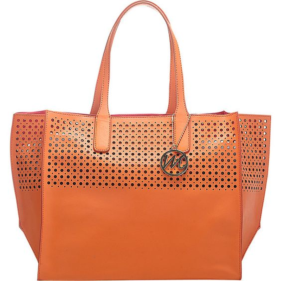 Emilie M La Mar Perforated Beach Tote ($36) ❤ liked on Polyvore featuring bags, handbags, tote bags, beach bag, orange, purse tote, red tote bag, faux leather tote, vegan tote bags and perforated tote