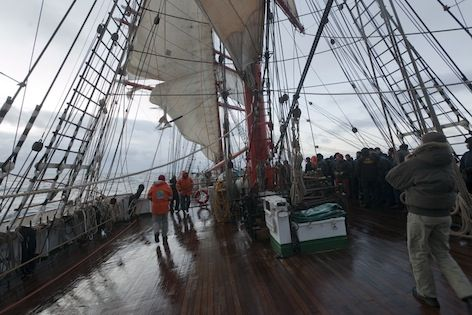 "The ""Sedov"" is approaching Cape Horn. A sail is blown-out"